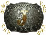 A to Z Initial Letter Rodeo Belt Buckle with display stand